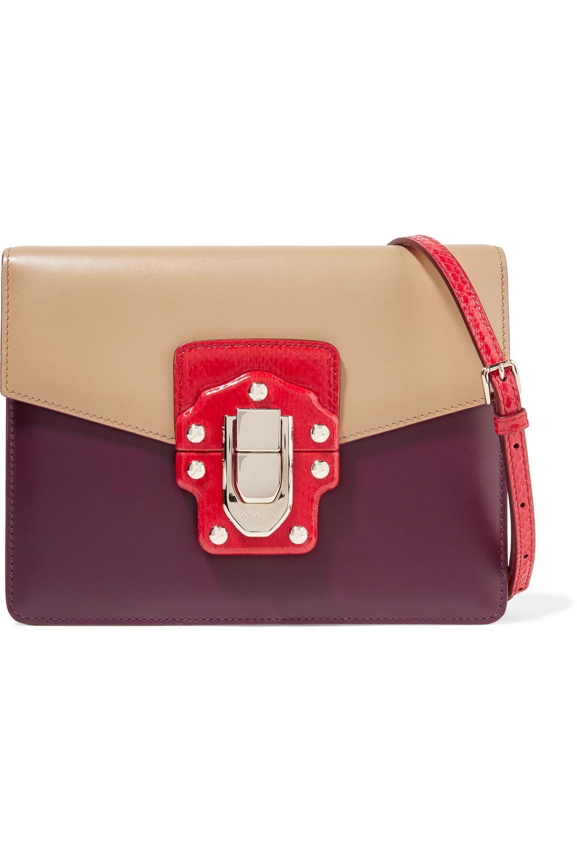 Dolce   Gabbana - Multicolor Woman Lucia Color-block Ayers And Leather  Shoulder Bag Sand. View fullscreen dcfd95962591a