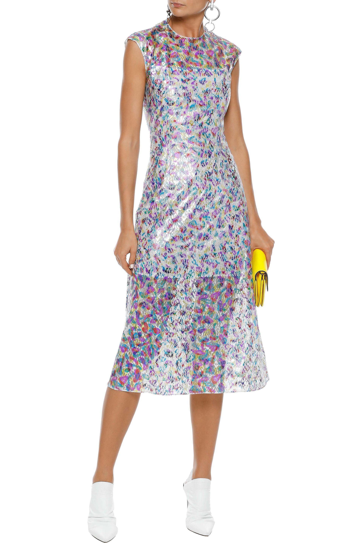 732155669810 Lyst - Christopher Kane Metallic Lace Midi Dress in Blue