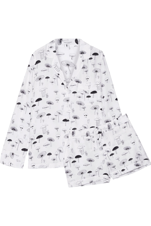 da91b11c01 Equipment Lillian Printed Washed-silk Pajama Set in White - Lyst