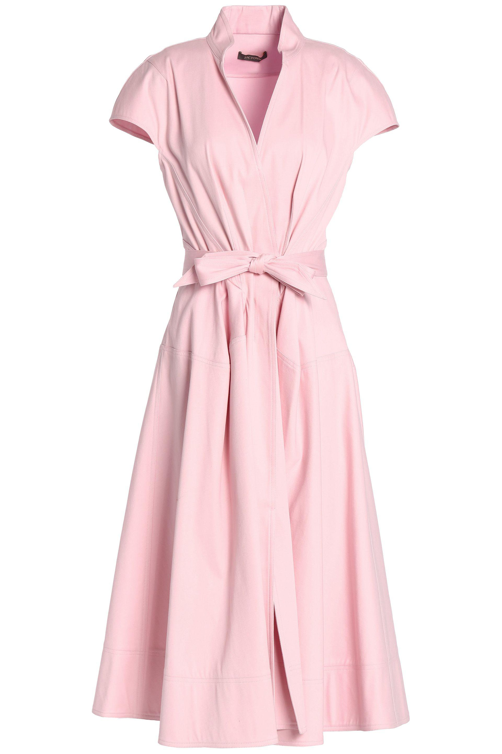 4864ba09a5b3bb Zac Posen Bow-embellished Pleated Cotton-blend Canvas Midi Dress ...