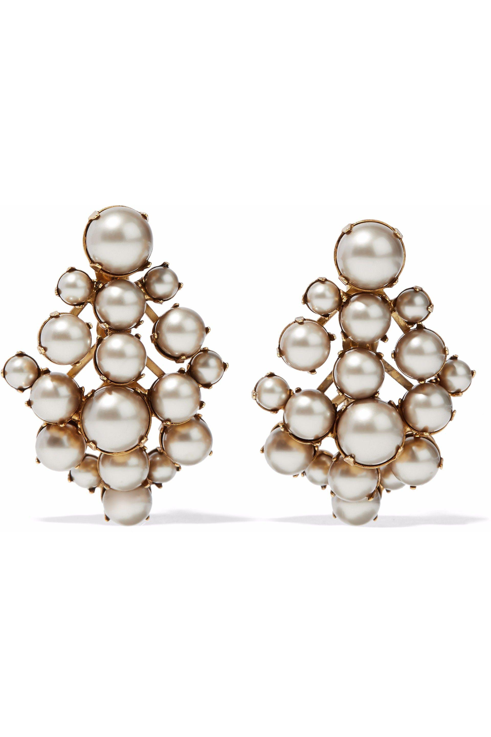 clear s ball and front amp claire stud earrings back pearl faux glass