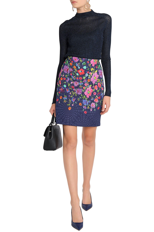 Oscar De La Renta Woman Floral-print Cloqué Mini Skirt Midnight Blue Size 6 Oscar De La Renta h9SfFZ4