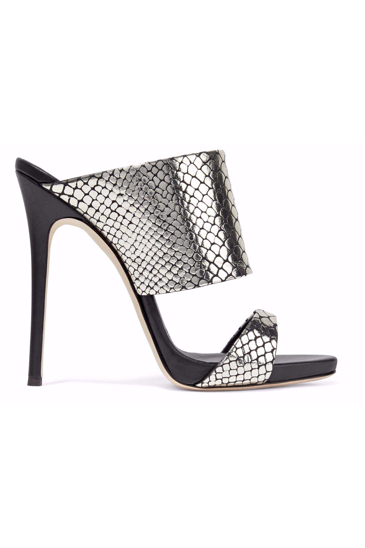 28c40e6c8e9a9 Giuseppe Zanotti Woman Andrea Snake-effect Mirrored-leather Mules ...