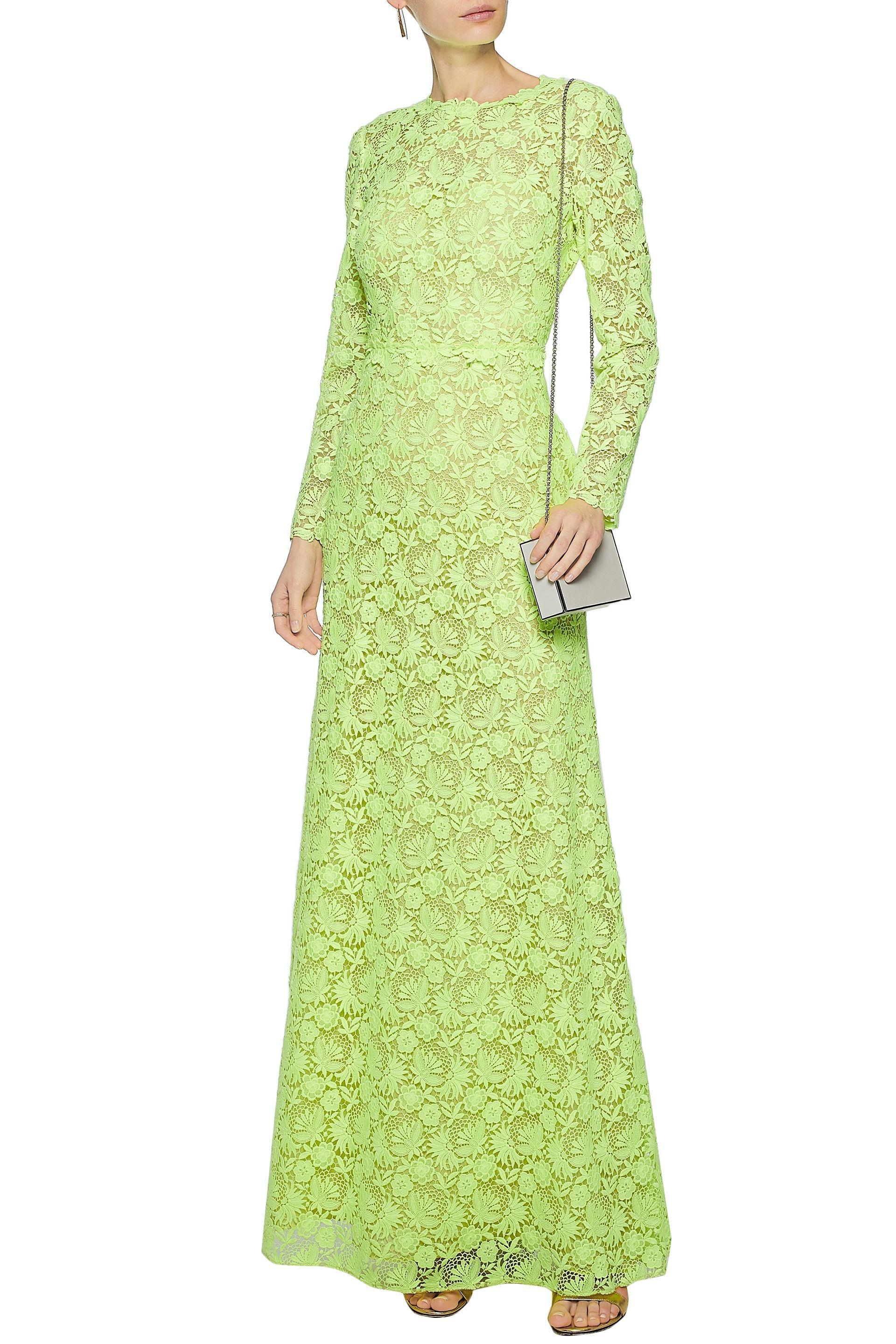 Lyst - Valentino Neon Guipure Lace Gown Bright Yellow in Yellow