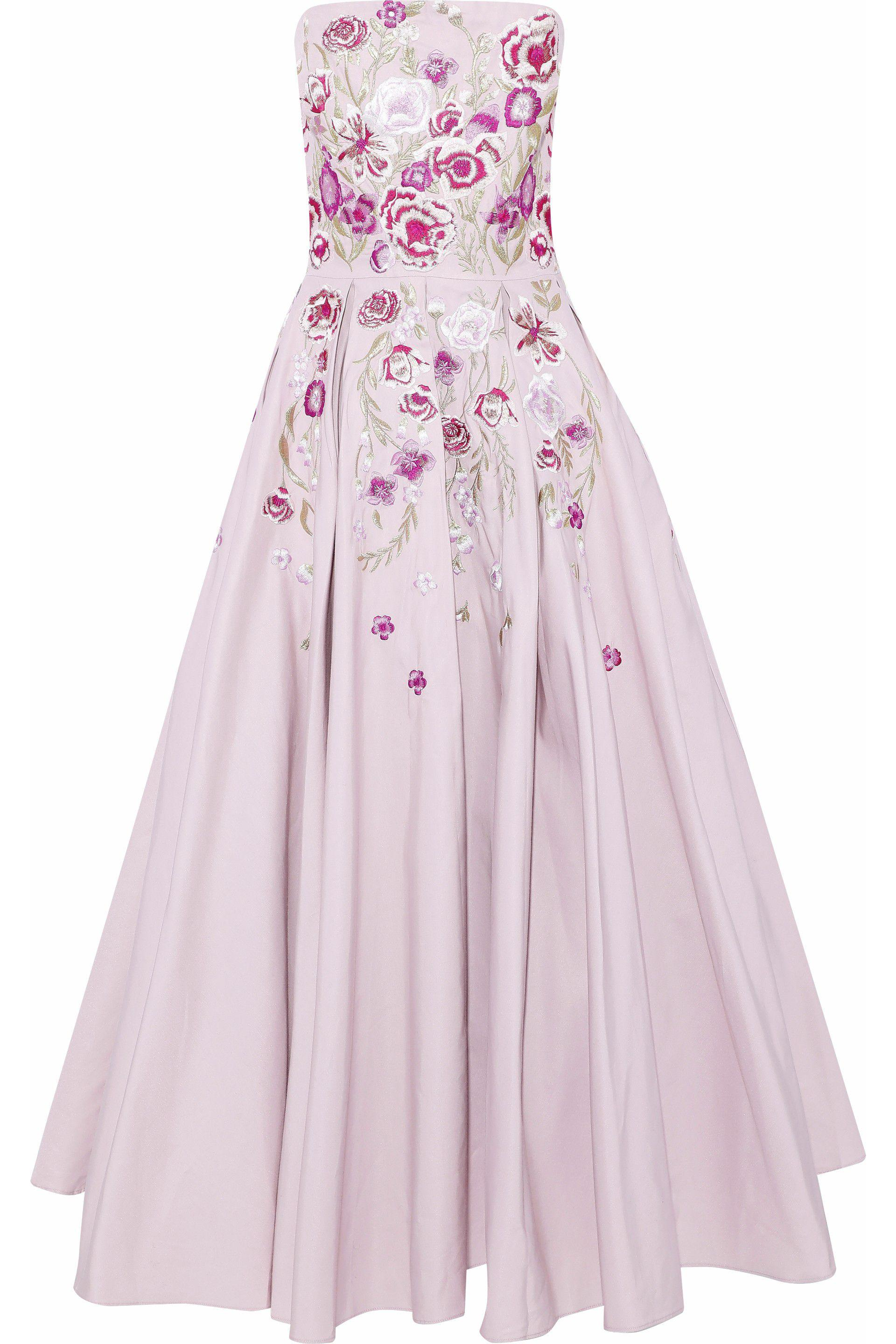 3cb1fd83d5b0 Marchesa notte Strapless Embroidered Cotton And Silk-blend Faille ...