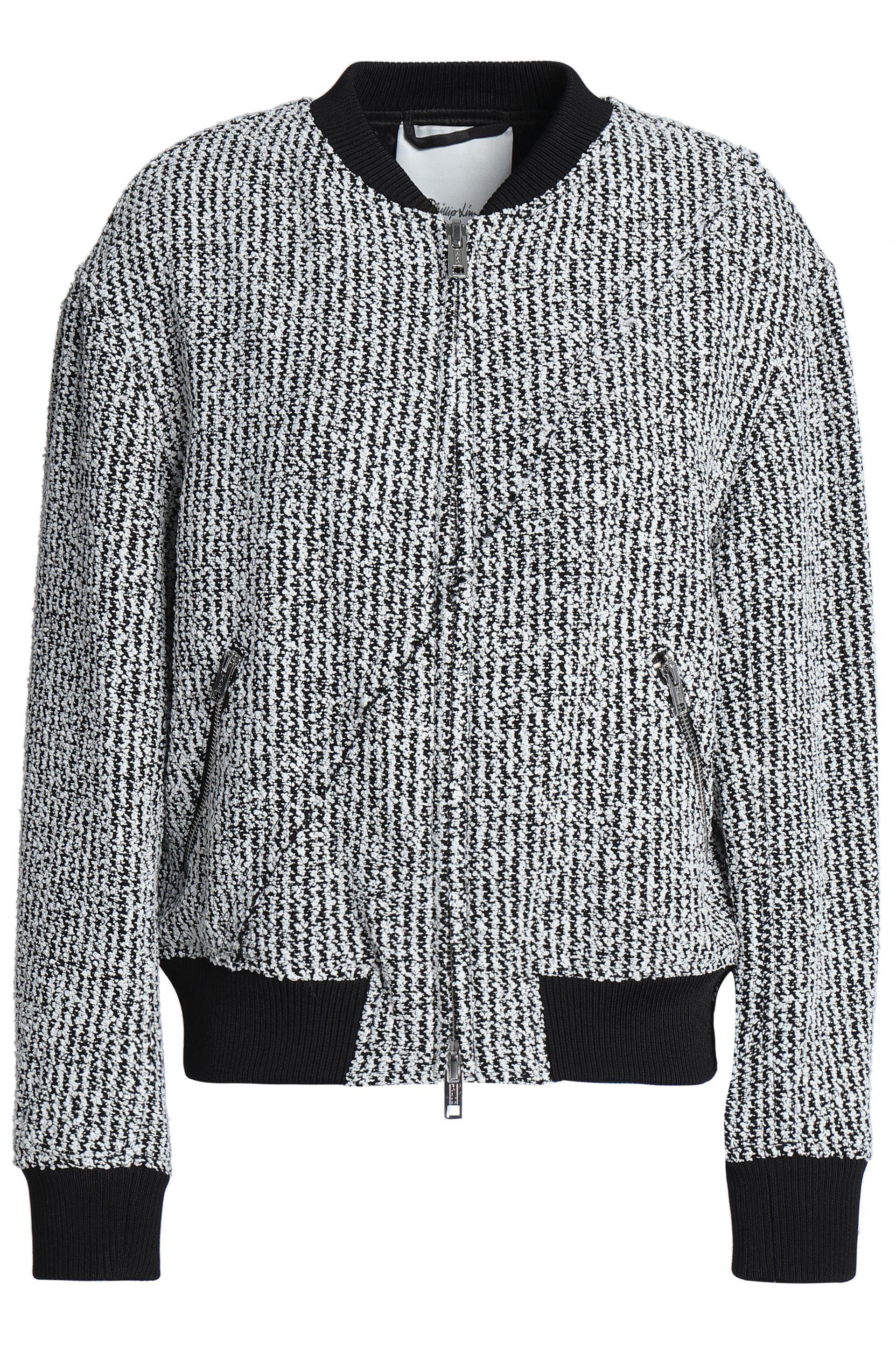 c824eeebe9 3.1 Phillip Lim Woman Bouclé-tweed Bomber Jacket Black in Black ...