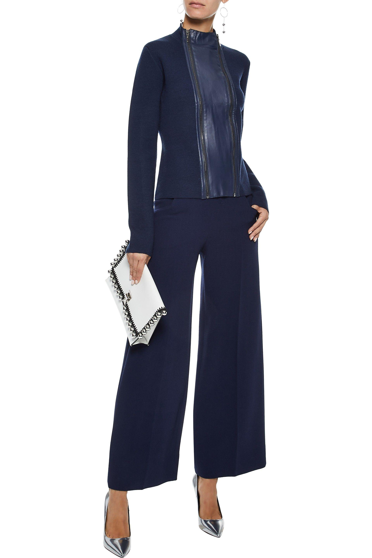 8da2ac9973d Elie Tahari - Blue Woman Leather-trimmed Merino Wool Jacket Navy - Lyst.  View fullscreen