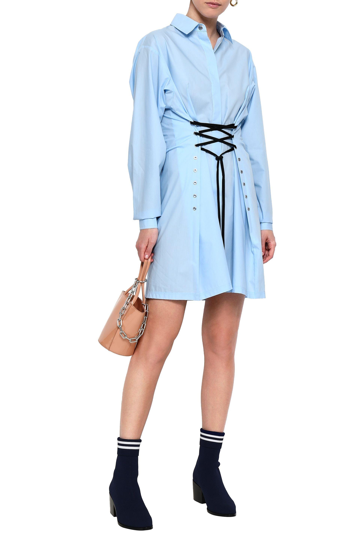 4f4afb6a84adc4 ... Cotton-poplin Mini Shirt Dress Light Blue - Lyst. View fullscreen