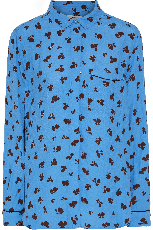 762c37a1 Ganni Woman Roseburg Floral-print Washed-crepe Shirt Azure in Blue ...
