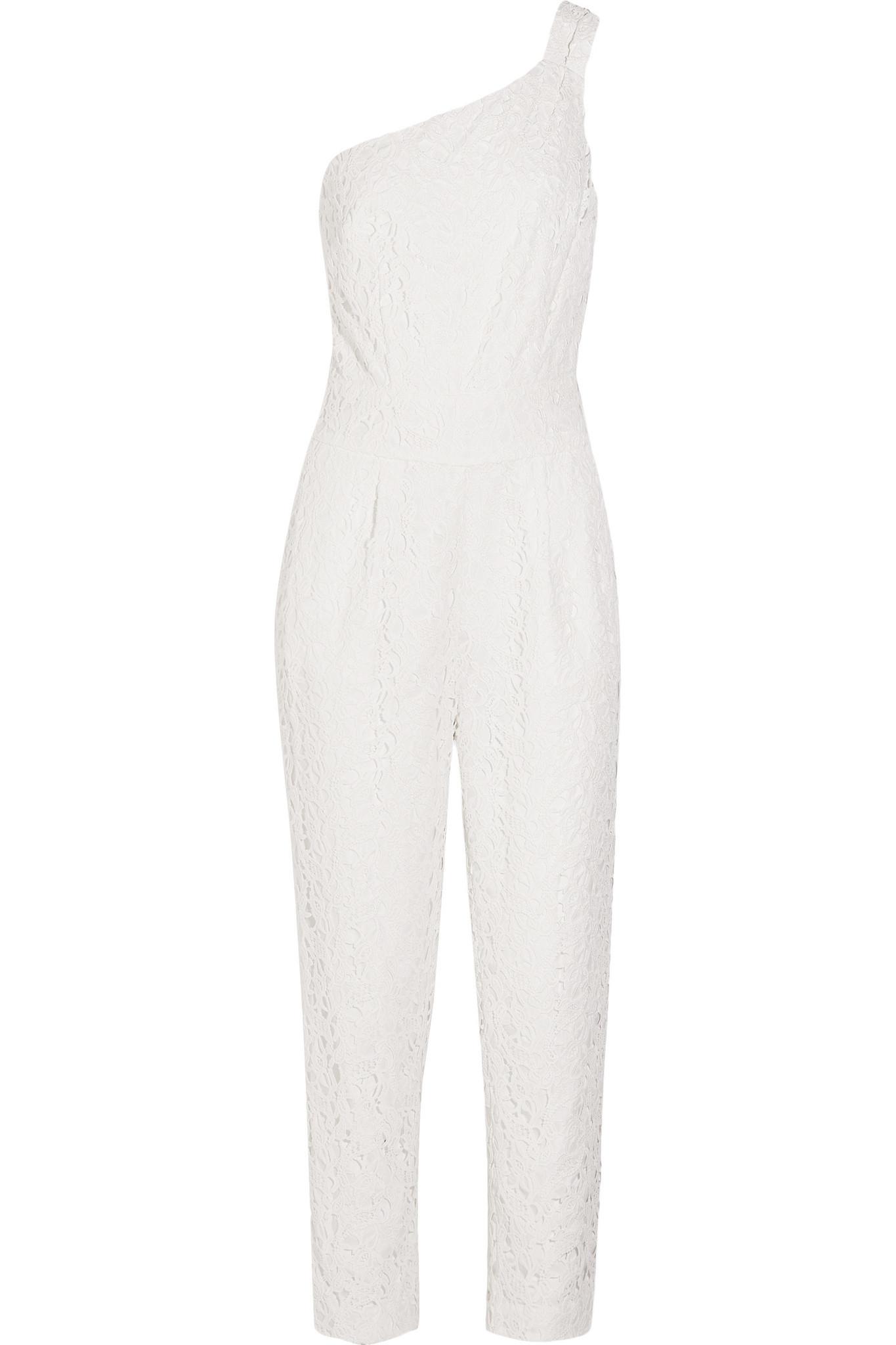 ed09cab4de78 Lyst - J.Crew Nia Bridal One-shoulder Floral-lace Jumpsuit in White