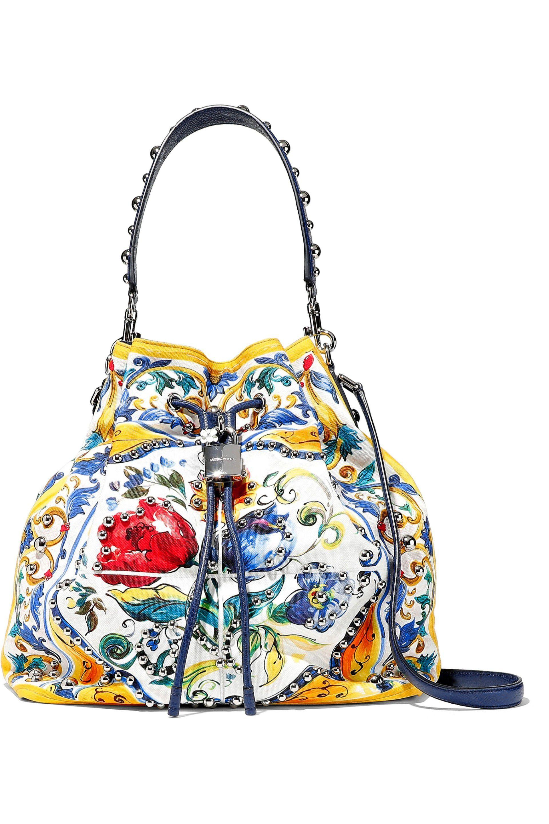 c78a5a4bb0c1 Lyst - Dolce   Gabbana Woman Embellished Floral-print Canvas Bucket ...