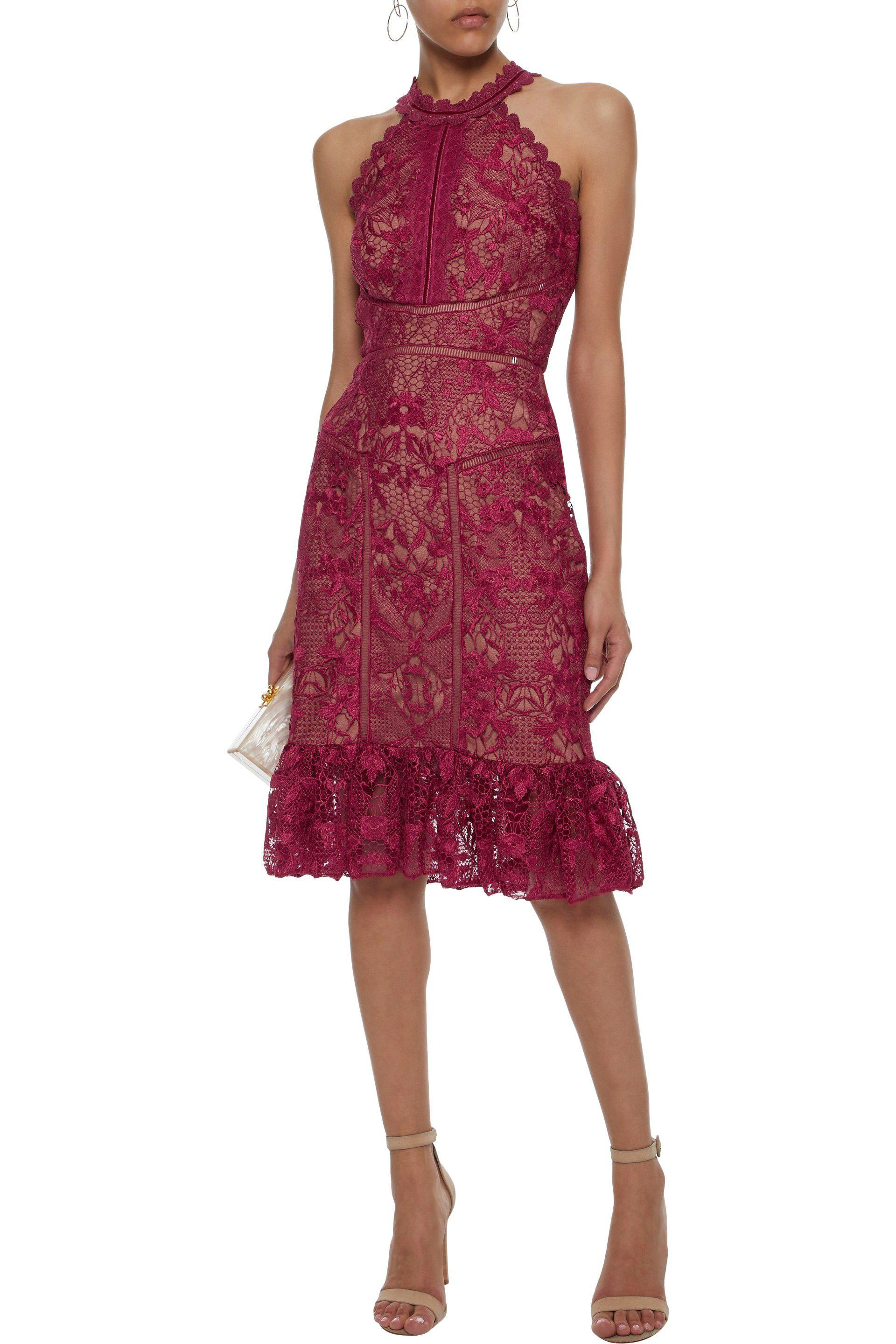 ad4afdd2 Marchesa notte - Red Woman Scalloped Velvet-trimmed Guipure Lace Dress  Burgundy - Lyst. View fullscreen