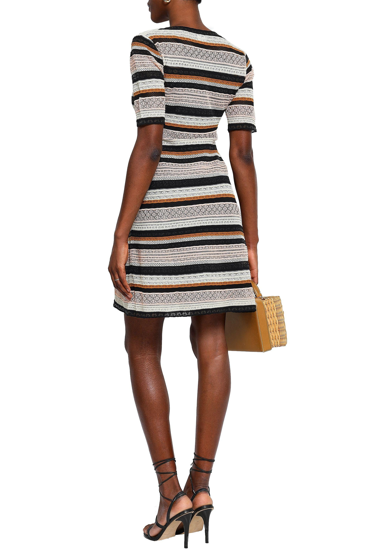 95470e108ba40f M Missoni - Woman Striped Crochet-knit Mini Dress Pastel Pink - Lyst. View  fullscreen