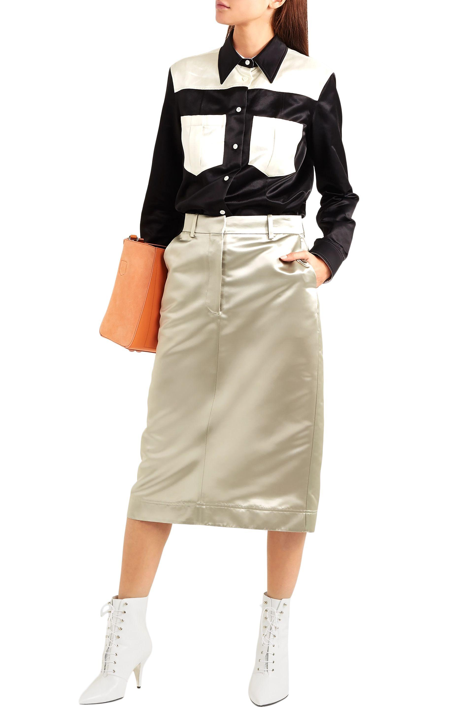 84ebcadab0 CALVIN KLEIN 205W39NYC - Woman Satin Midi Skirt Sage Green - Lyst. View  fullscreen