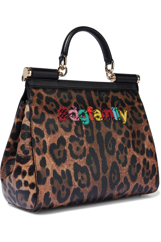 Dolce   Gabbana - Multicolor Woman Sicily Appliquéd Leopard-print Textured-leather  Shoulder Bag. View fullscreen a6197657facf4