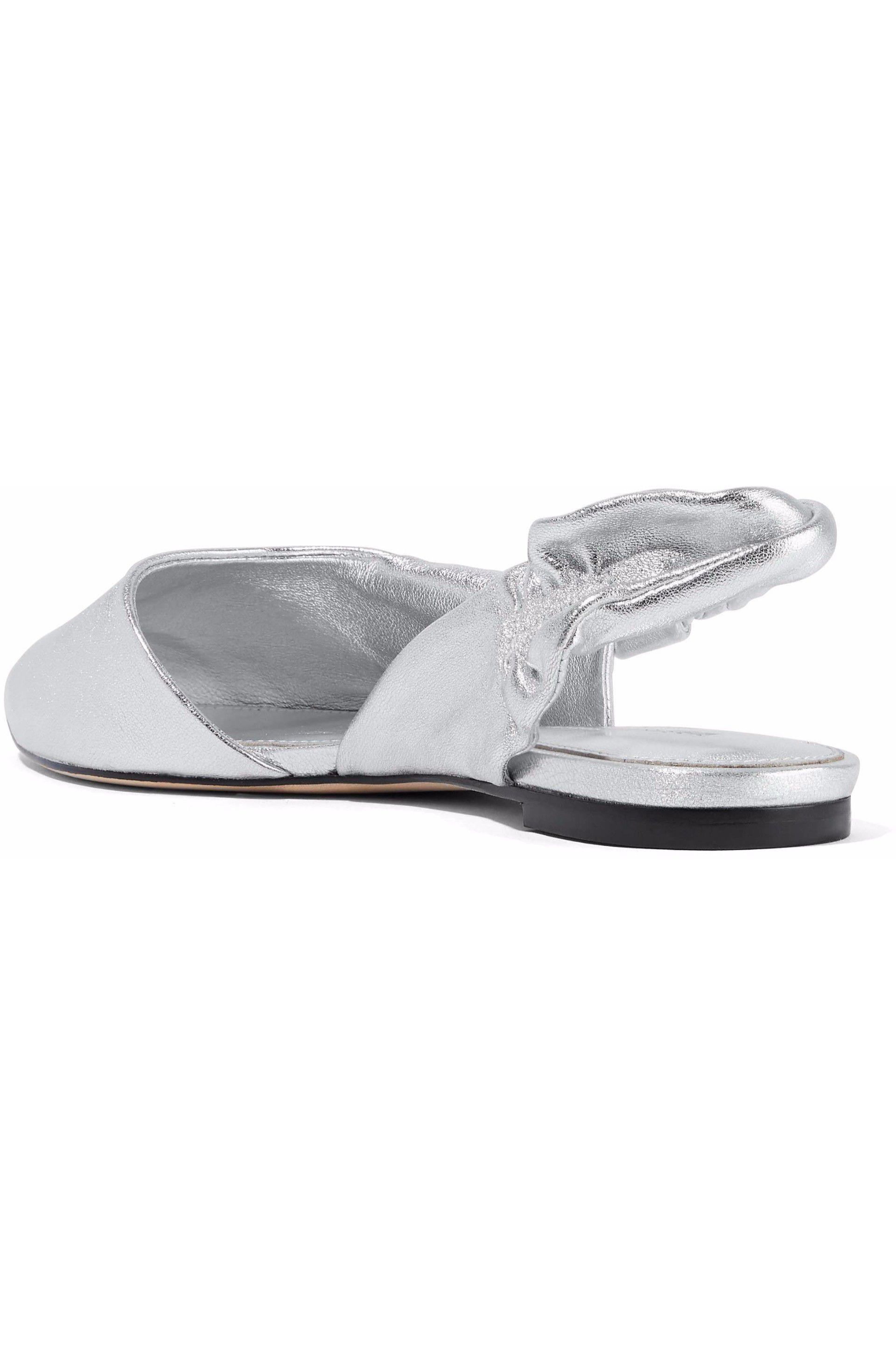 d96412721c9 Sigerson Morrison - Woman Sham Metallic Leather Slingback Point-toe Flats  Silver - Lyst. View fullscreen