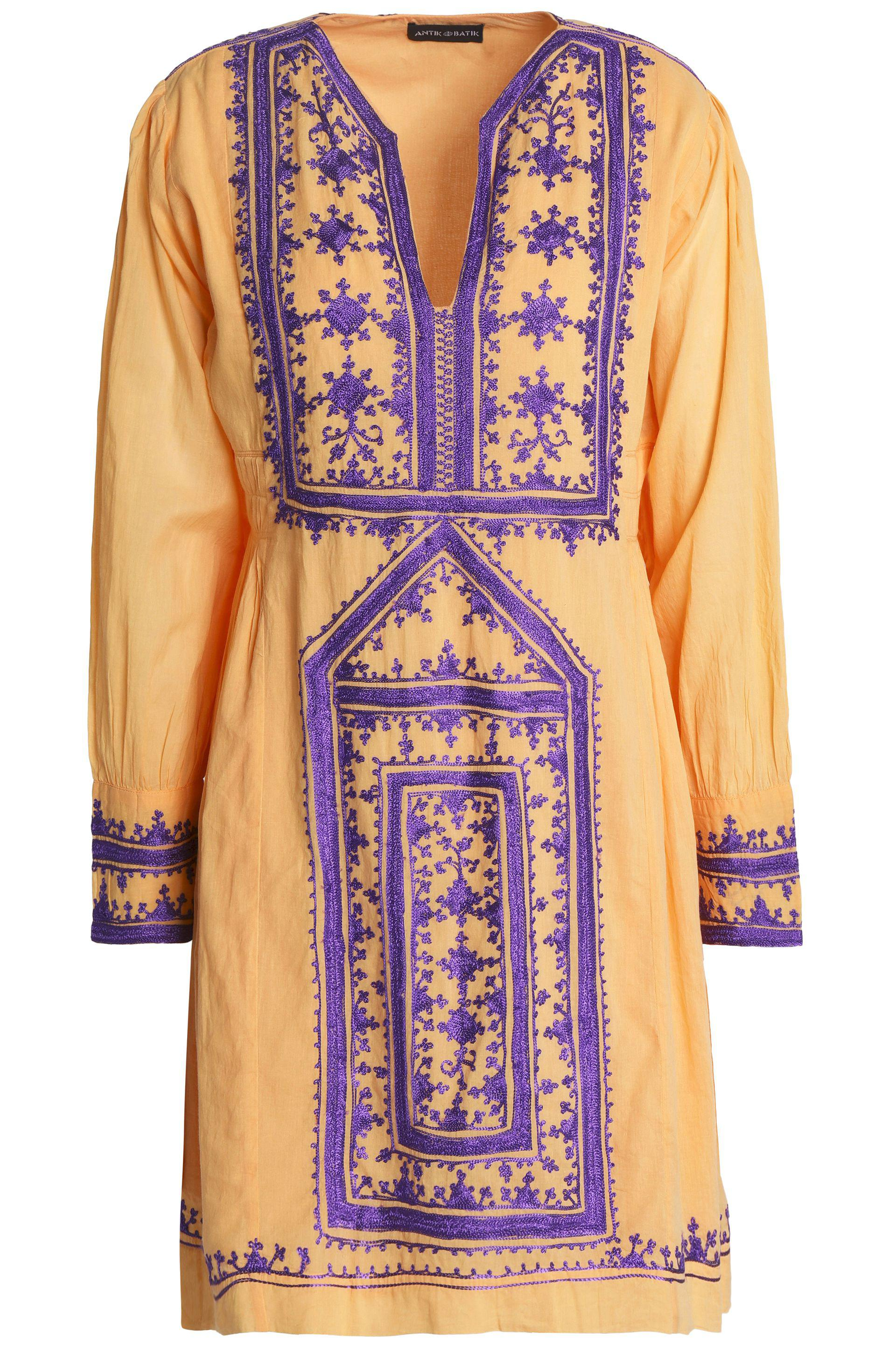 Antik Batik Woman Embroidered Cotton-voile Mini Dress Pastel Orange Size 38 Antik Batik 11ER1aKQD9