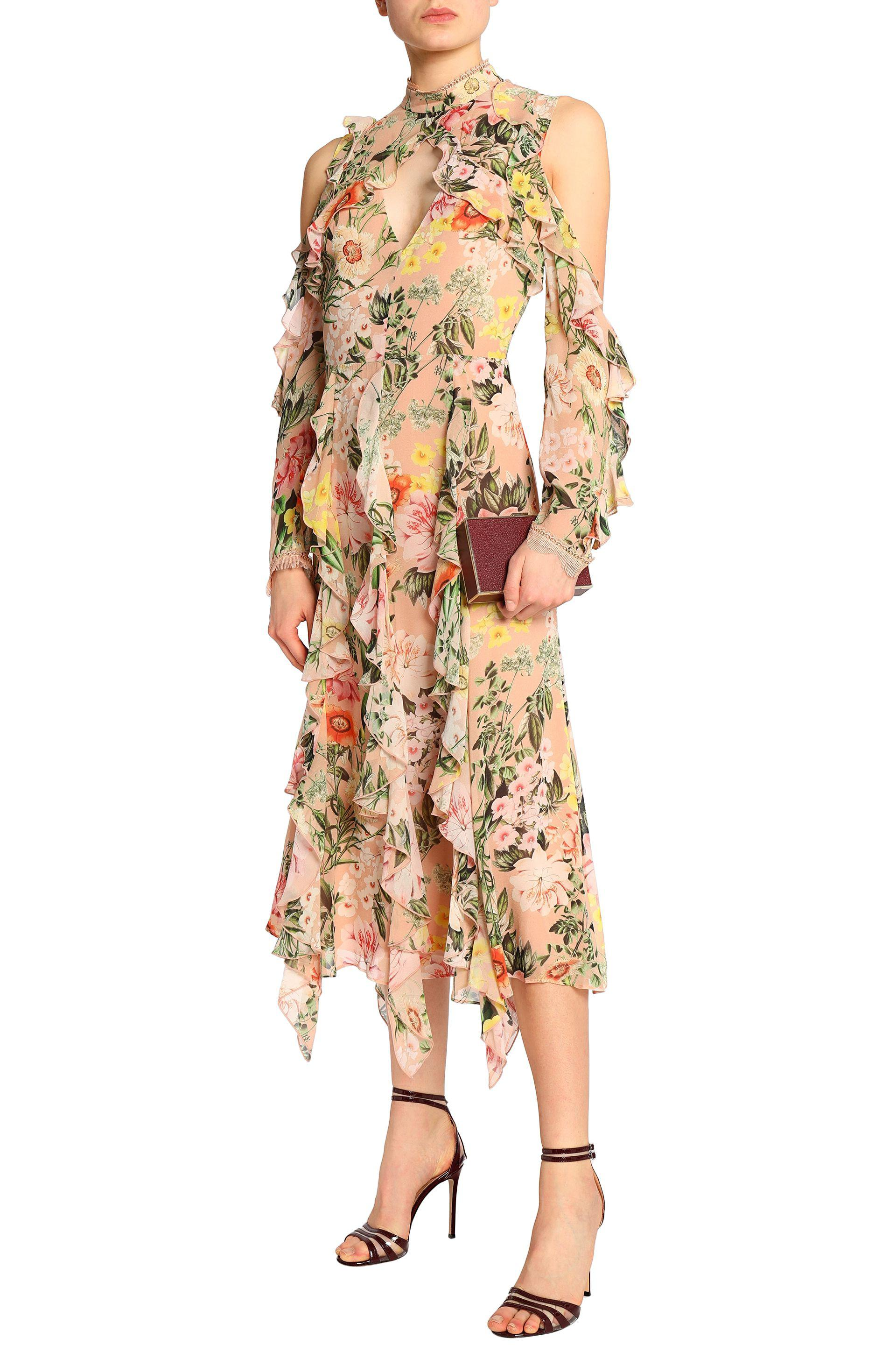 Nicholas Woman Cold-shoulder Ruffled Floral-print Silk Crepe De Chine Midi Dress Peach Size 2 Nicholas aAbXwXYtIt