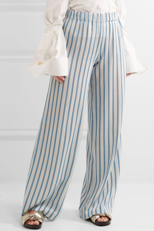 4092aa1cc Paul & Joe Striped Crepe Wide-leg Pants in White - Lyst