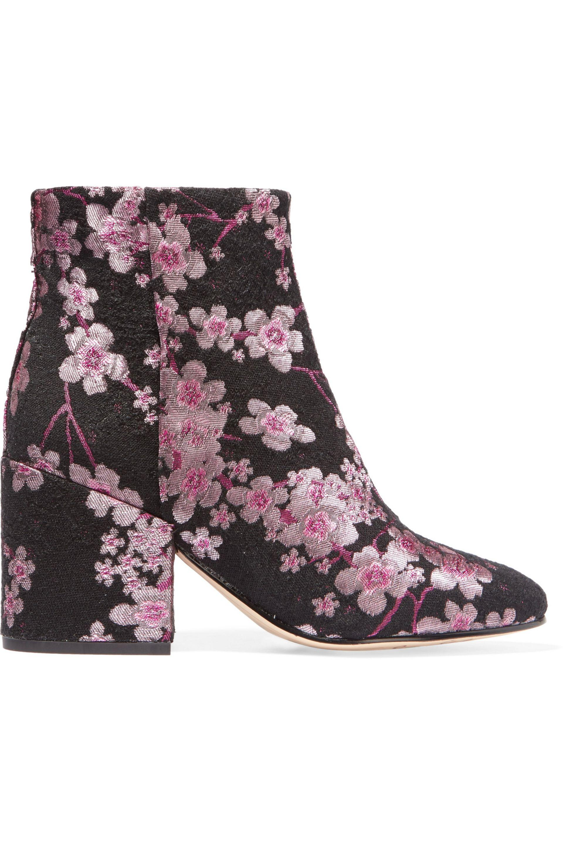4e72d721f31 Sam Edelman Taye Floral-Brocade Ankle Boots in Pink - Lyst