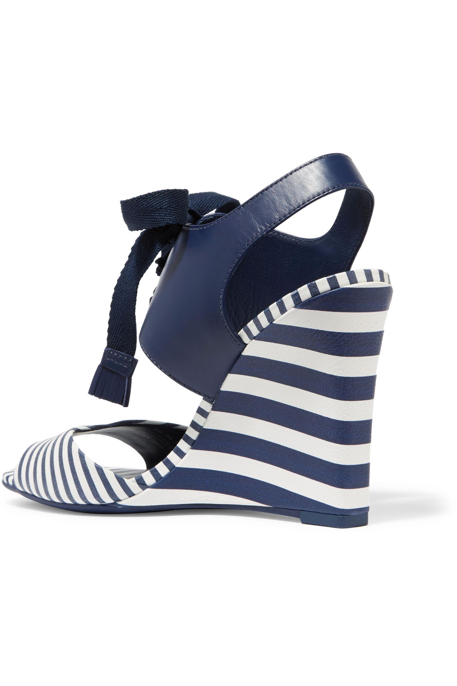 cdc93ba6044c Lyst - Tory Burch Maritime Lace-up Striped Leather Wedge Sandals in Blue