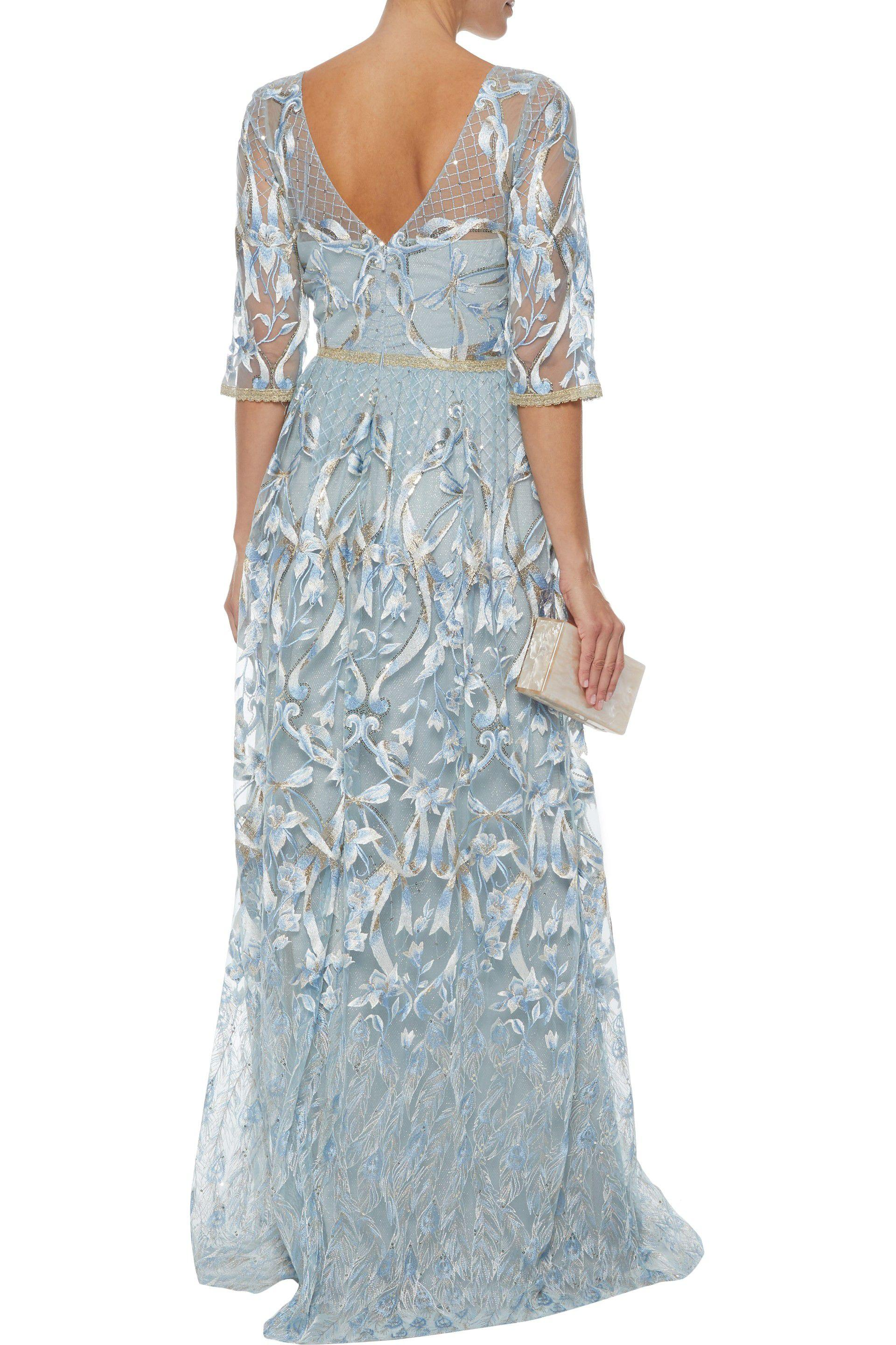 9e3f2a59 Marchesa notte Woman Sequin-embellished Metallic Embroidered Tulle ...