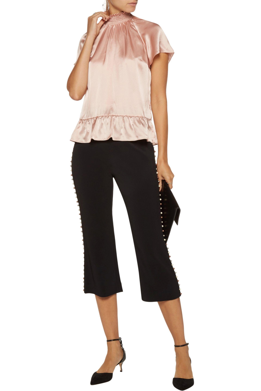 a6dc7bbd3d6 Lyst - Rachel Zoe Harbor Smocked Silk-satin Top in Pink