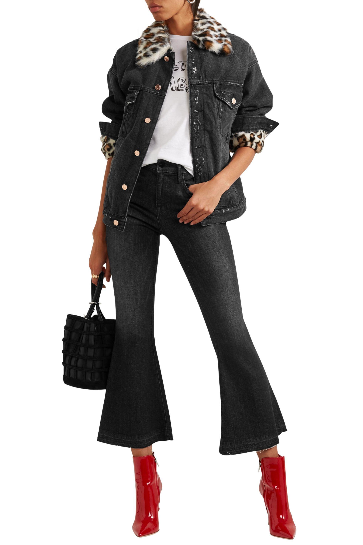 c1d9aacdd6 Steve J   Yoni P Woman Leopard-print Faux Fur-trimmed Denim Jacket ...