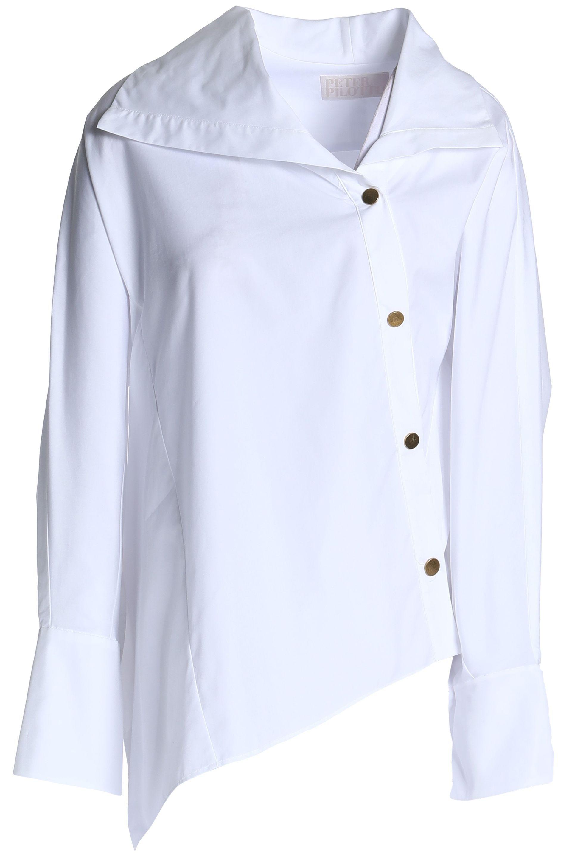 Peter Pilotto Woman Asymmetric Cotton-poplin Shirt White Size 10 Peter Pilotto Clearance x9UViIn5cs
