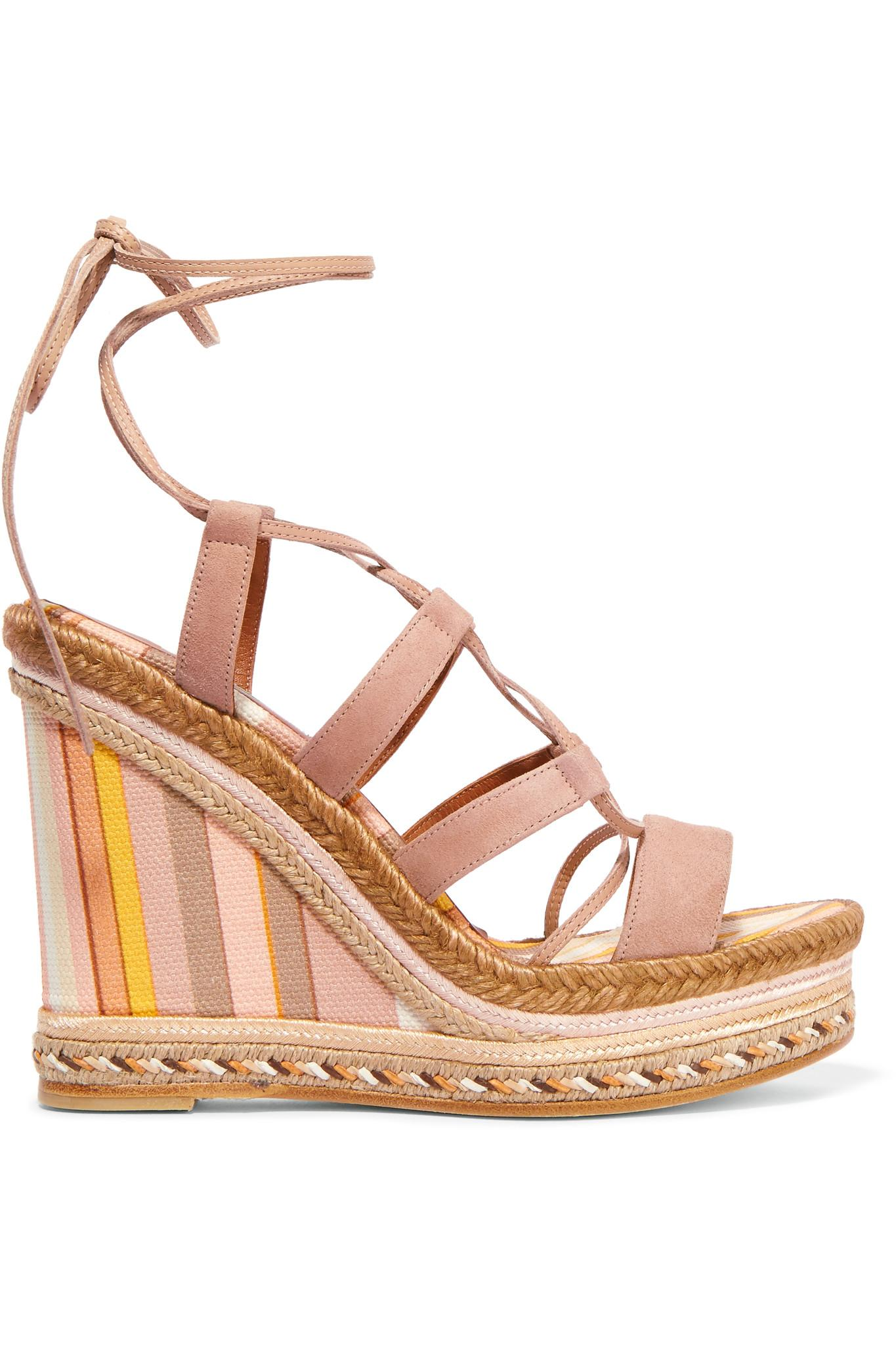 valentino suede and striped canvas espadrille wedge