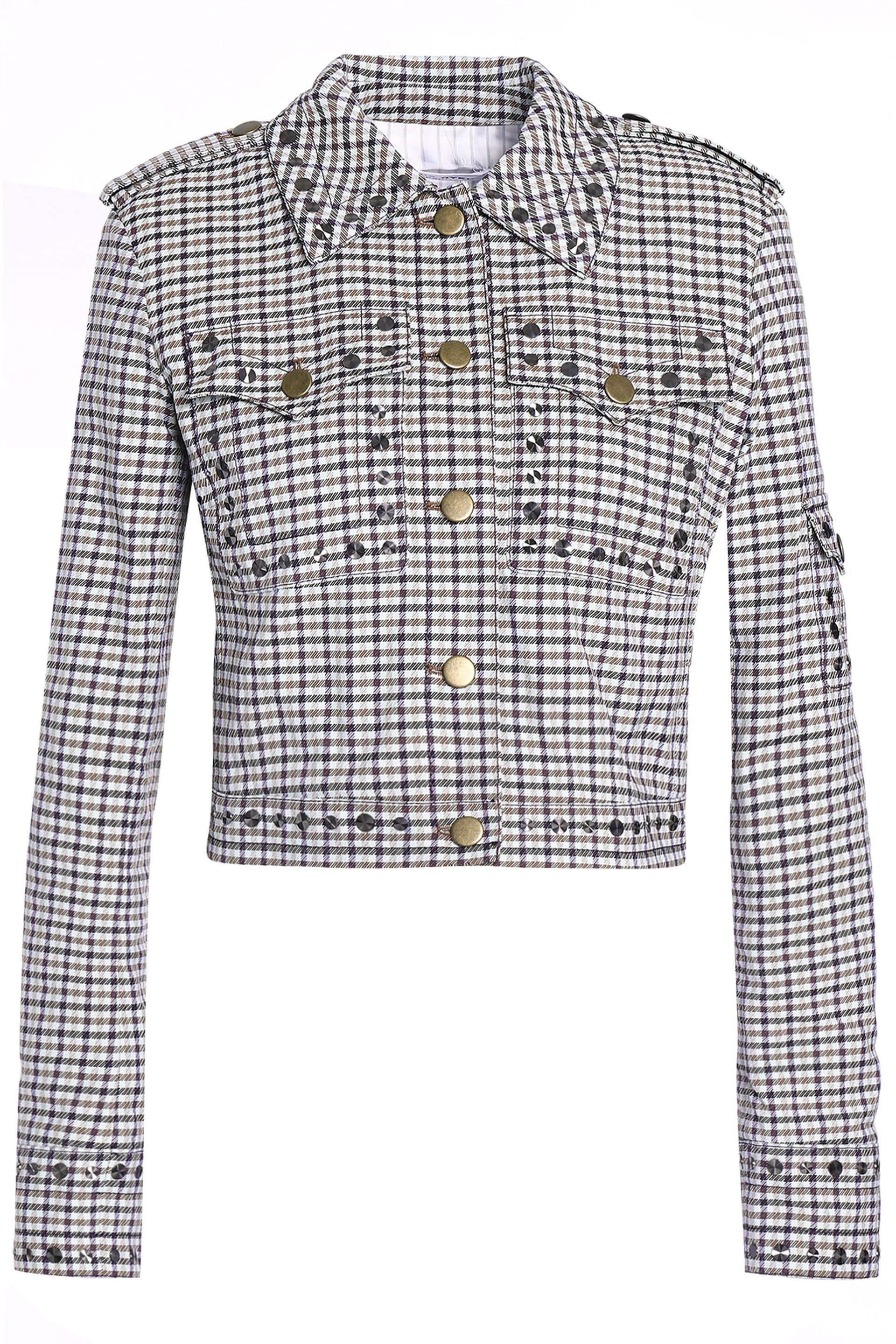 13739ee7466c Sonia Rykiel Studded Checked Jacquard Jacket in Blue - Lyst