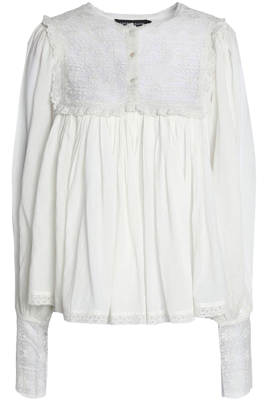 Cheap Sale Sast Antik Batik Woman Lace-paneled Gathered Crinkled-cotton Blouse Off-white Size 40 Antik Batik Clearance Store Best Store To Get 0CH4wj8MLp