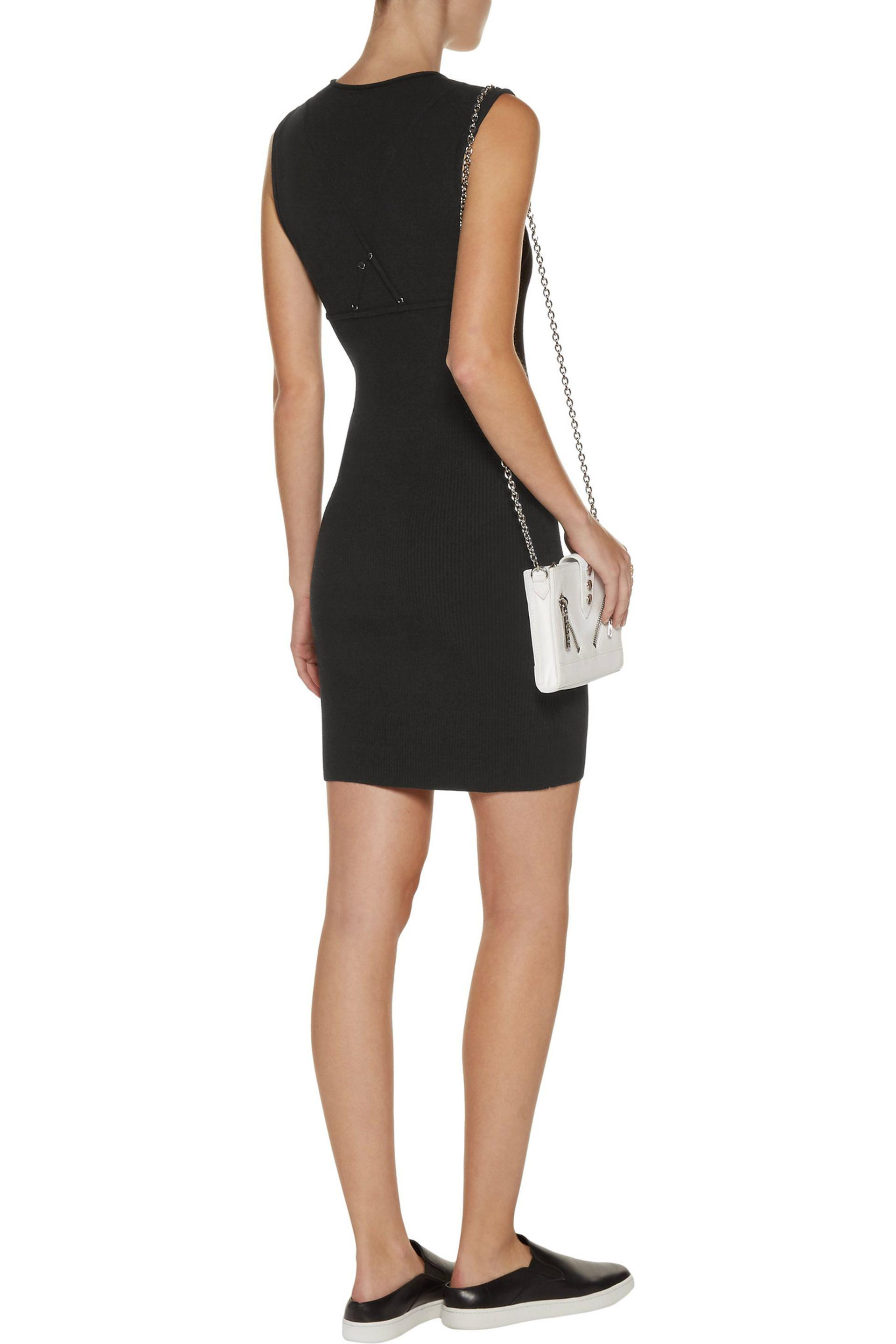 Outlet Best Store To Get A.l.c. Woman Aviana Layer-effect Stretch And Ribbed-knit Mini Dress Black Size L A.L.C. Looking For Sale Online wIRKxE2wkA