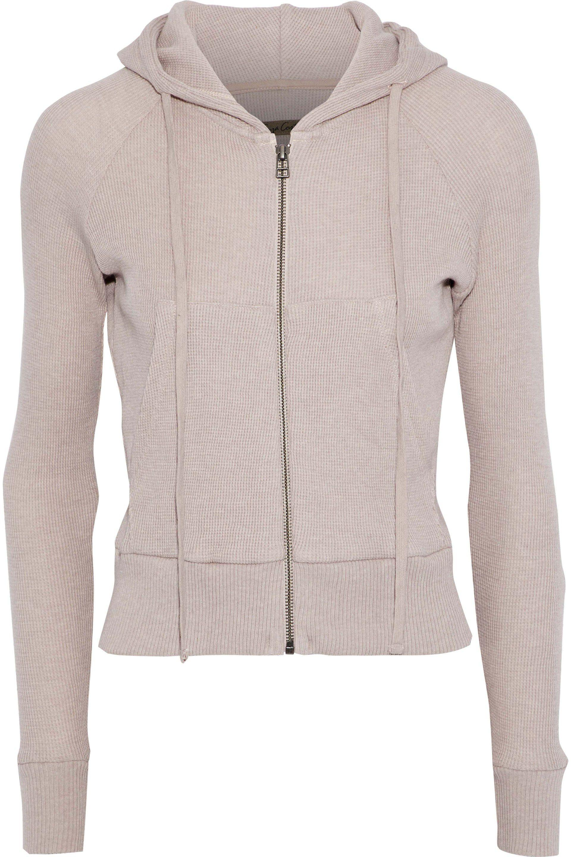 Lyst - Enza Costa Woman Waffle-knit Cotton And Cashmere-blend Hoodie ... 7e68e3930