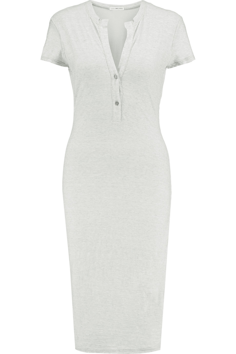 Lyst james perse henley slub cotton midi dress in white for James perse henley shirt