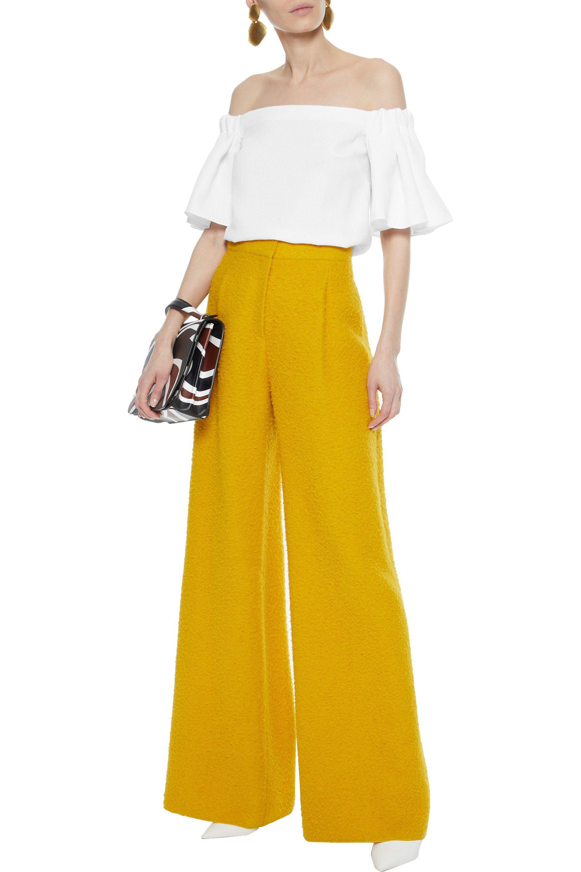 Badgley Mischka Woman Off-the-shoulder Ruffled Woven Top White Size XL Badgley Mischka Cheap Sale 2018 New Sast Cheap Online Discount Best Seller New Cheap Price kDY6vGeH2B