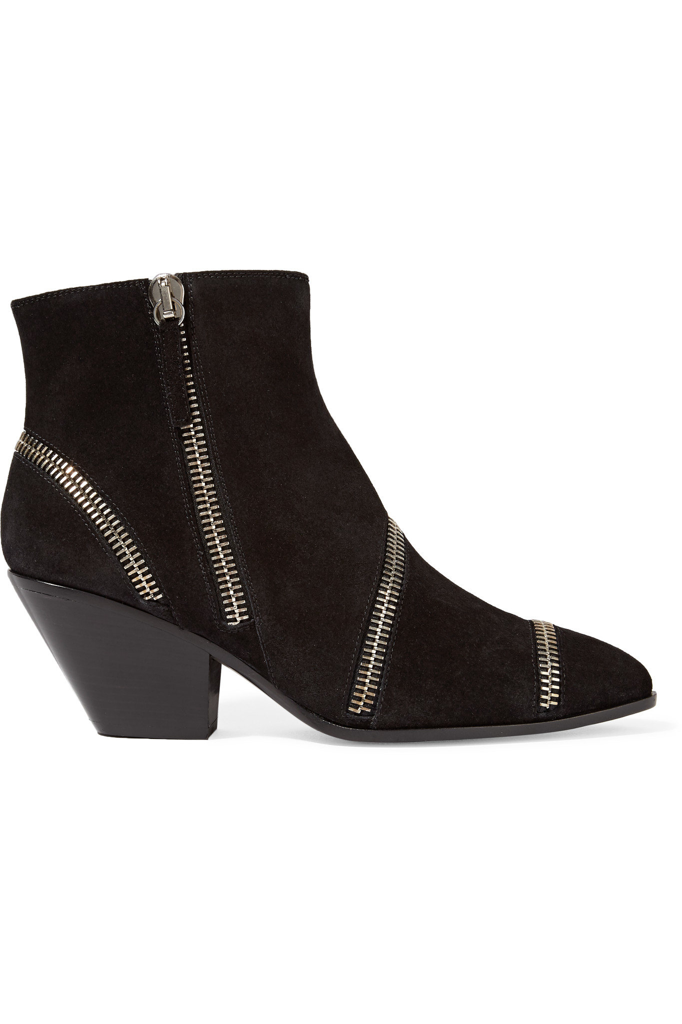 giuseppe zanotti zip suede ankle boots in black lyst
