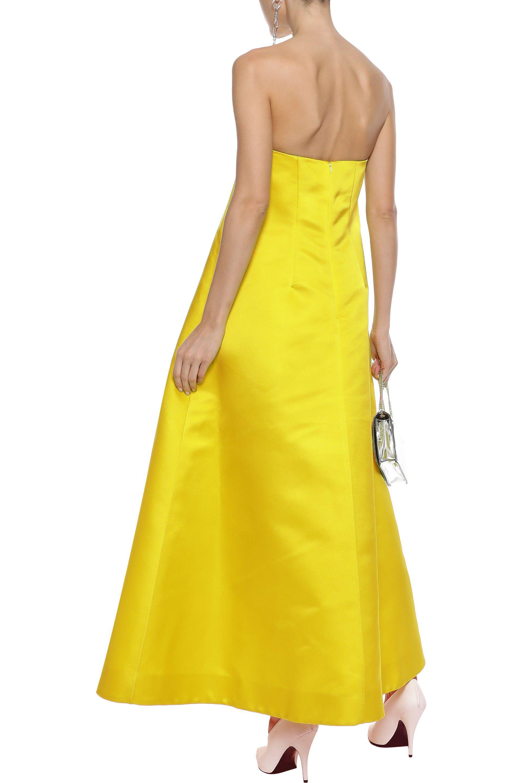 Lyst - Adam Lippes Strapless Silk-duchesse Satin Gown Bright Yellow ...