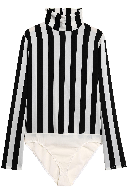 68dce89b26 Nina Ricci Striped Stretch-jersey Bodysuit in White - Lyst