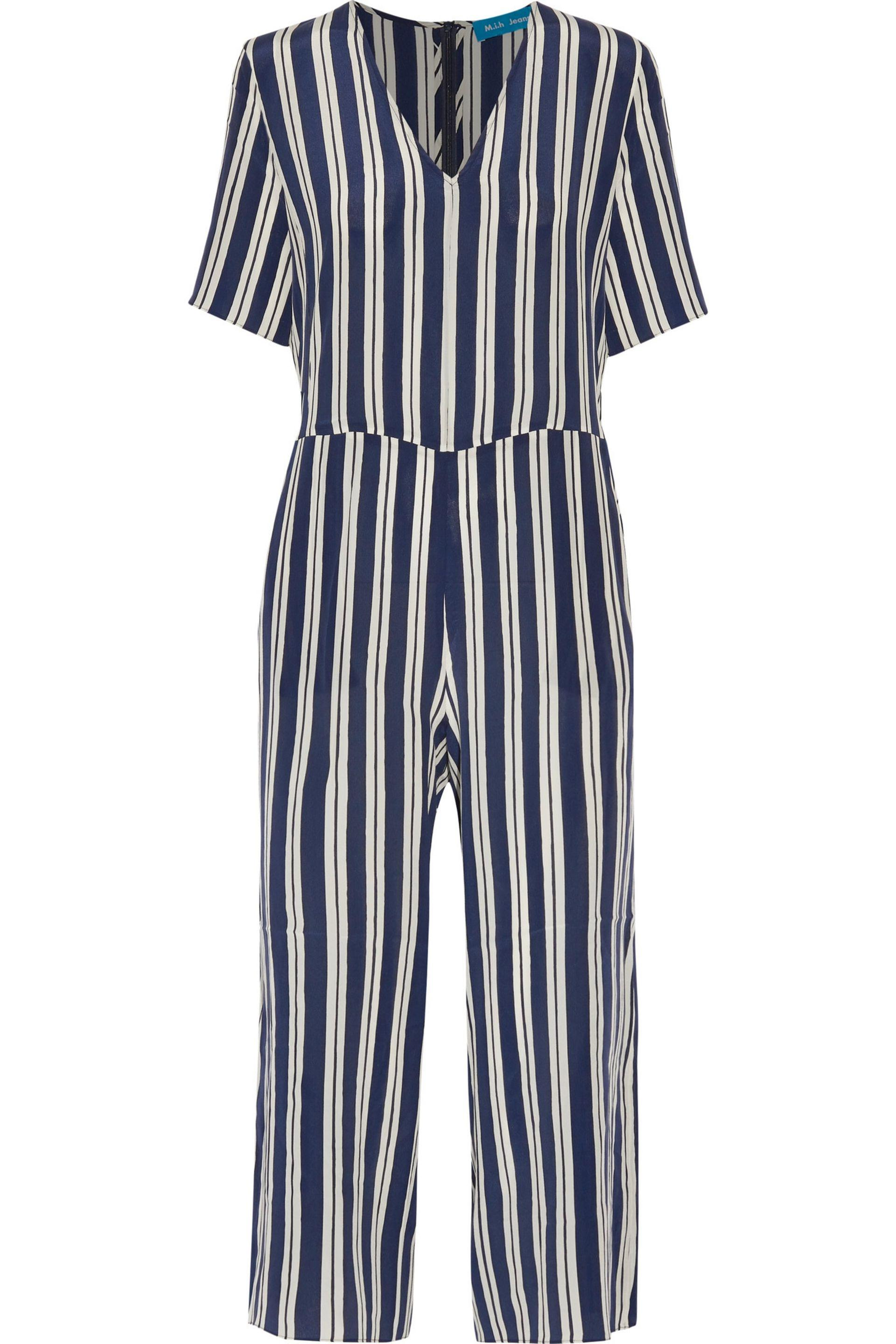 b9ac8994604 Lyst - M.i.h Jeans Hart Cropped Striped Silk Jumpsuit Midnight Blue ...