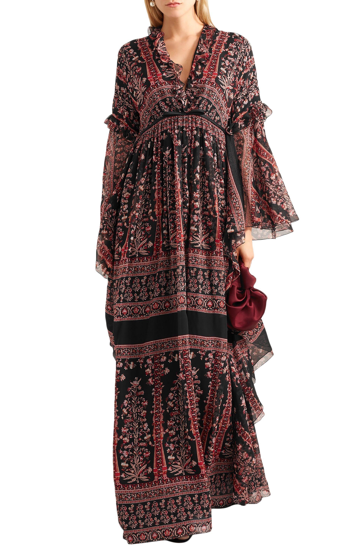 02df413d3c Giambattista Valli - Multicolor Woman Ruffle-trimmed Printed Silk-chiffon  Gown Brick - Lyst. View fullscreen