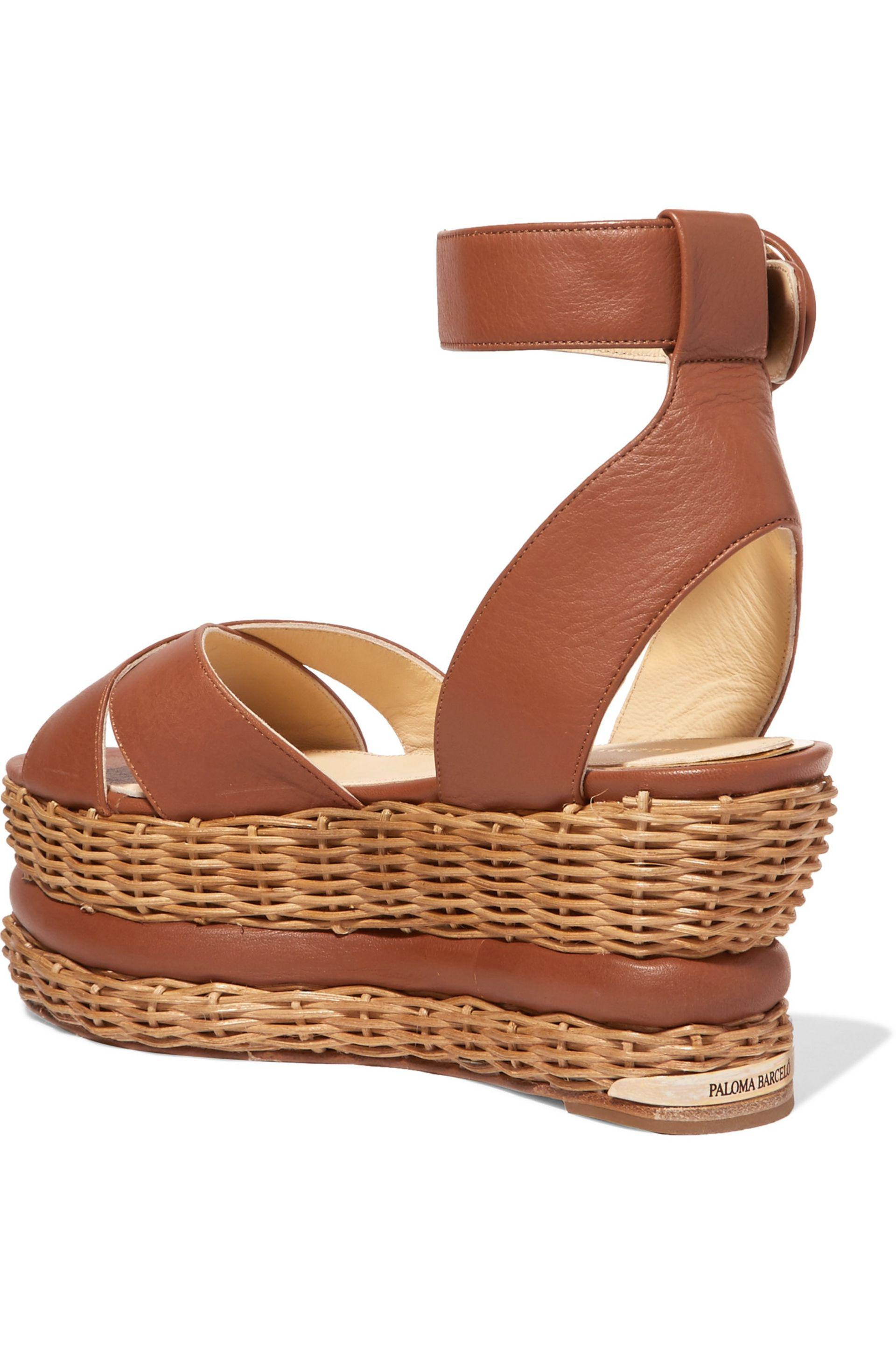 89f2bc5a28c Paloma Barceló Violette Woven And Leather Platform Sandals in Brown ...