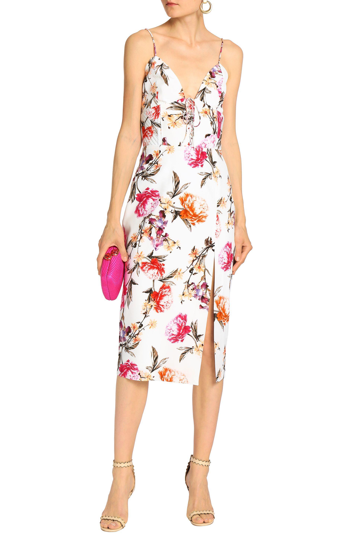 84ac84074ac3a Lyst - Nicholas Woman Lace-up Floral-print Silk Crepe De Chine Midi ...