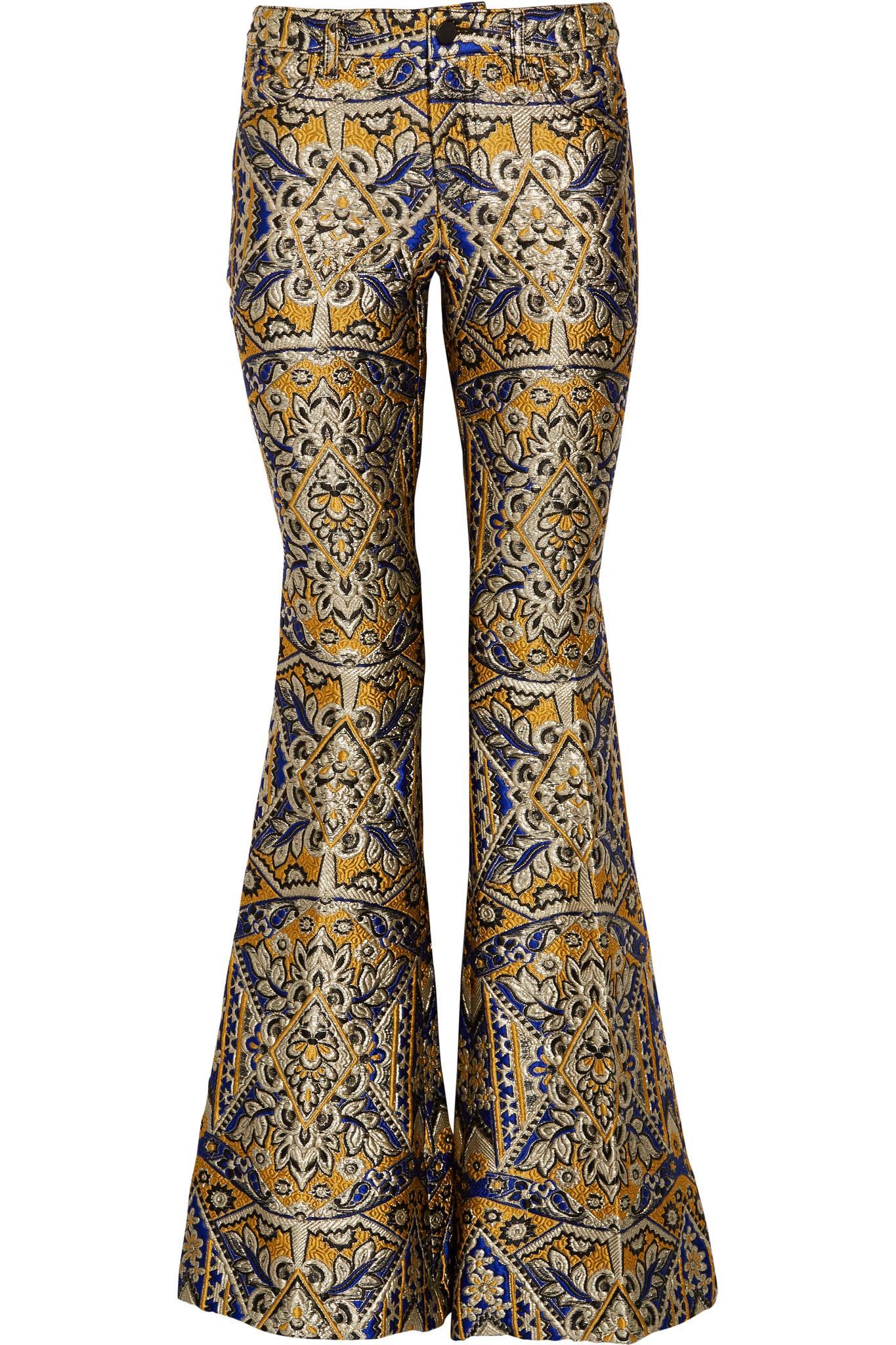 Alice Olivia Metallic Brocade Flared Pants In Metallic