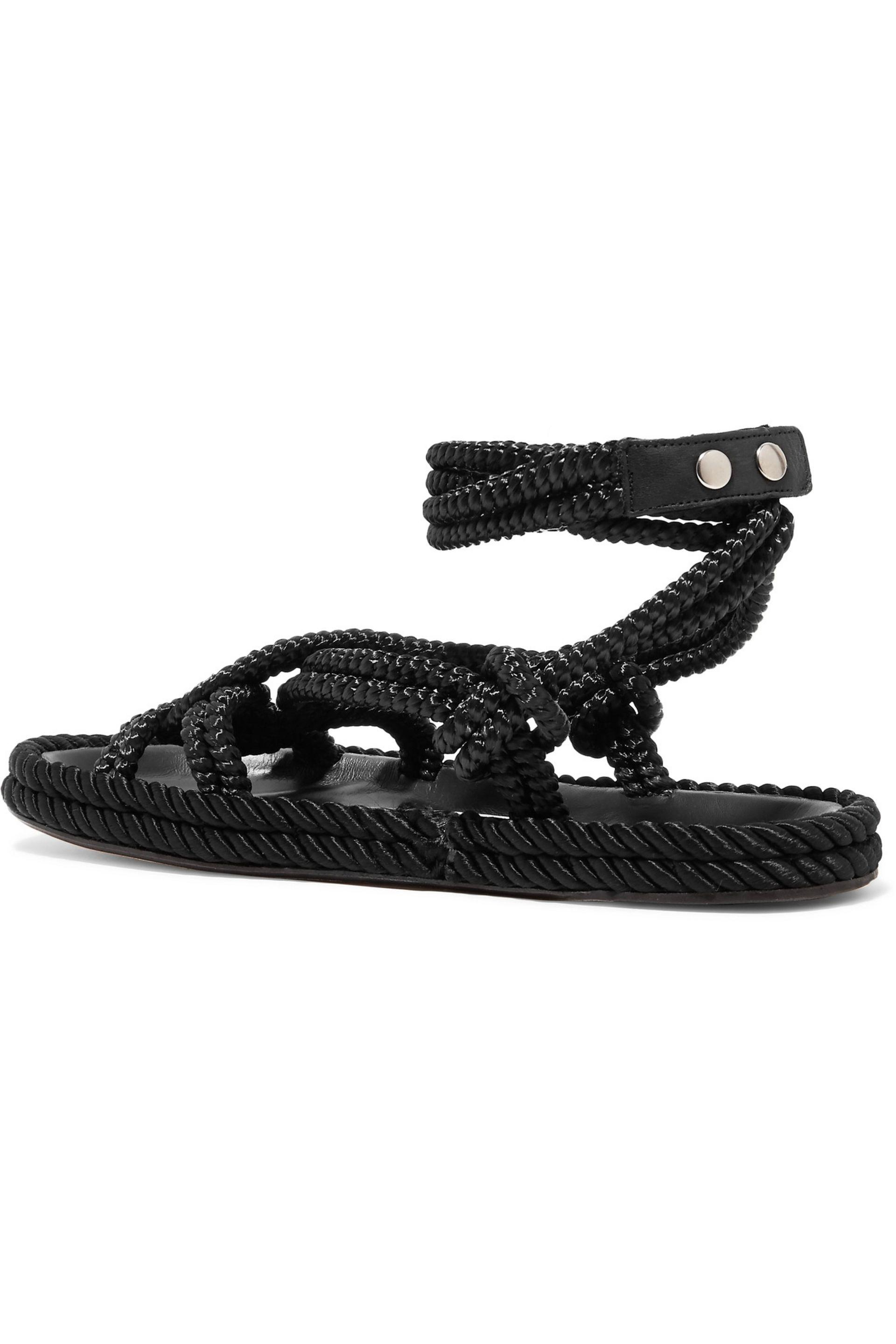 Isabel Marant - Black Lou Leather-trimmed Braided Cord Sandals - Lyst. View  Fullscreen