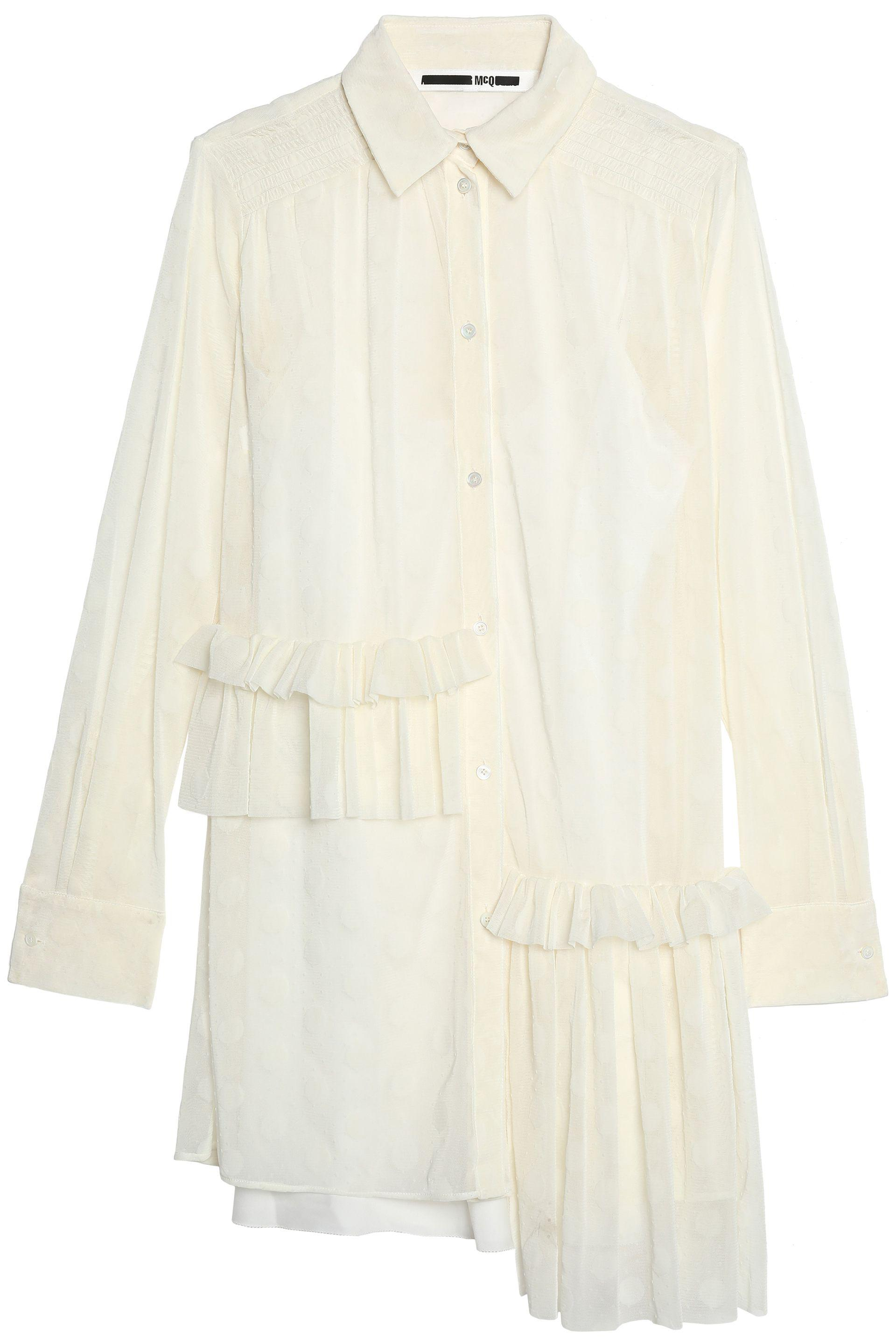 Mcq Alexander Mcqueen Woman Asymmetric Ruffled Flocked Tulle Shirt Dress Ivory Size 42 Alexander McQueen Cheap Get Authentic Sale With Paypal Free Shipping Popular Sale Online Store Outlet 100% Original CMtZs