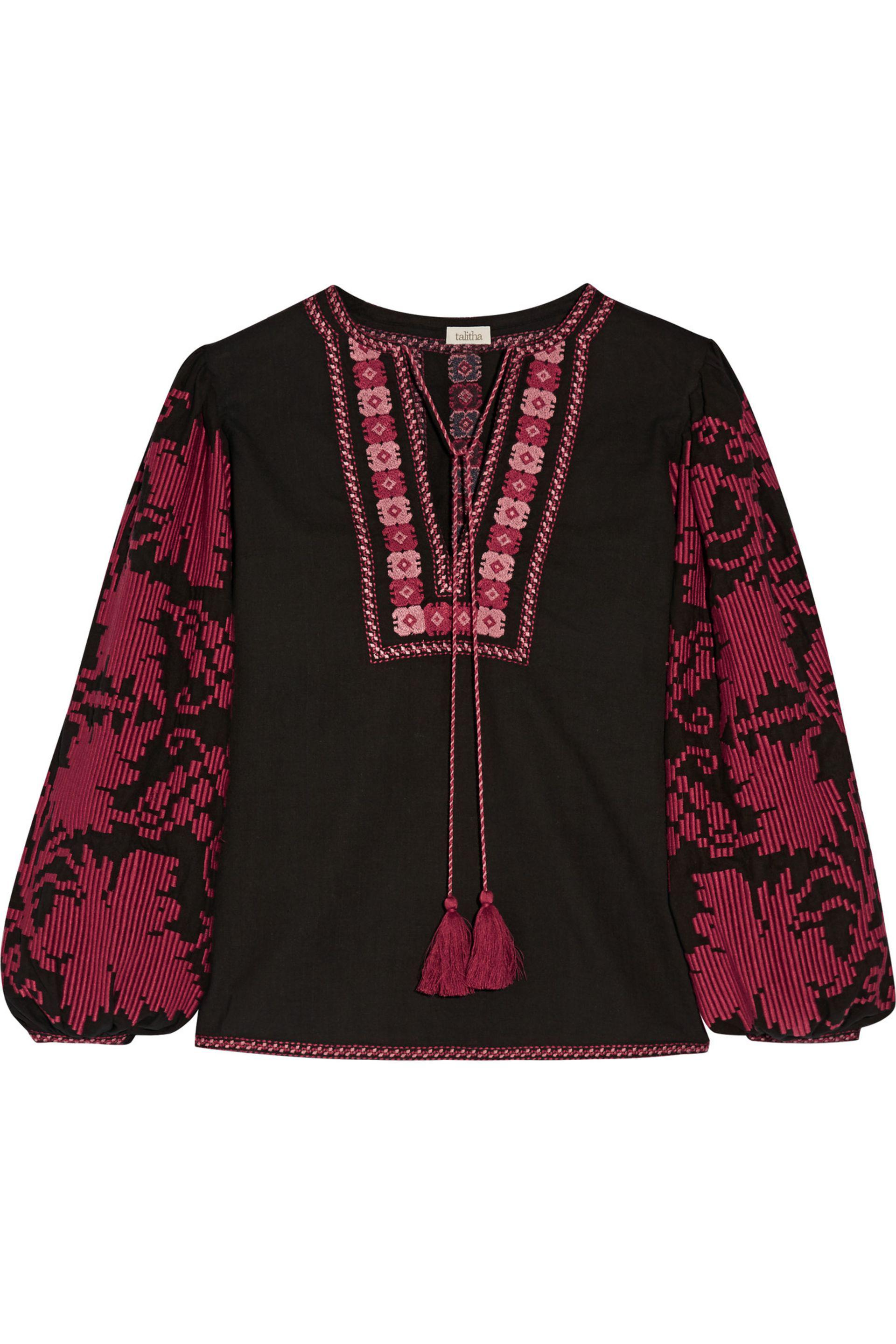 Outlet Discount Talitha Woman Embroidered Cotton-voile Tunic Burgundy Size M Talitha Affordable Cheap Online High Quality Cheap Online 43cNU