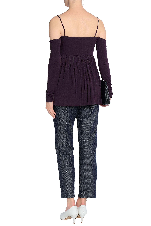 219234695e513d Bailey 44 - Woman Zombie Cold-shoulder Stretch-modal Jersey Top Dark Purple  -. View fullscreen