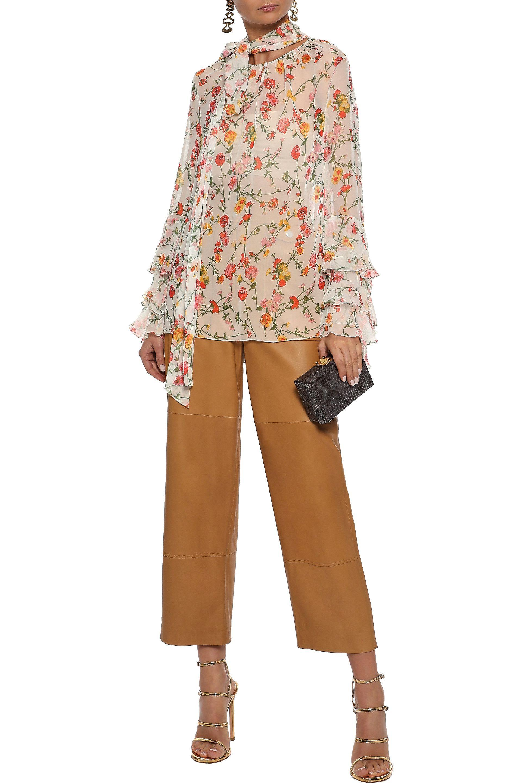 3d4e9259214076 Prabal Gurung - Woman Ruffle-trimmed Floral-print Silk-chiffon Blouse White  -. View fullscreen