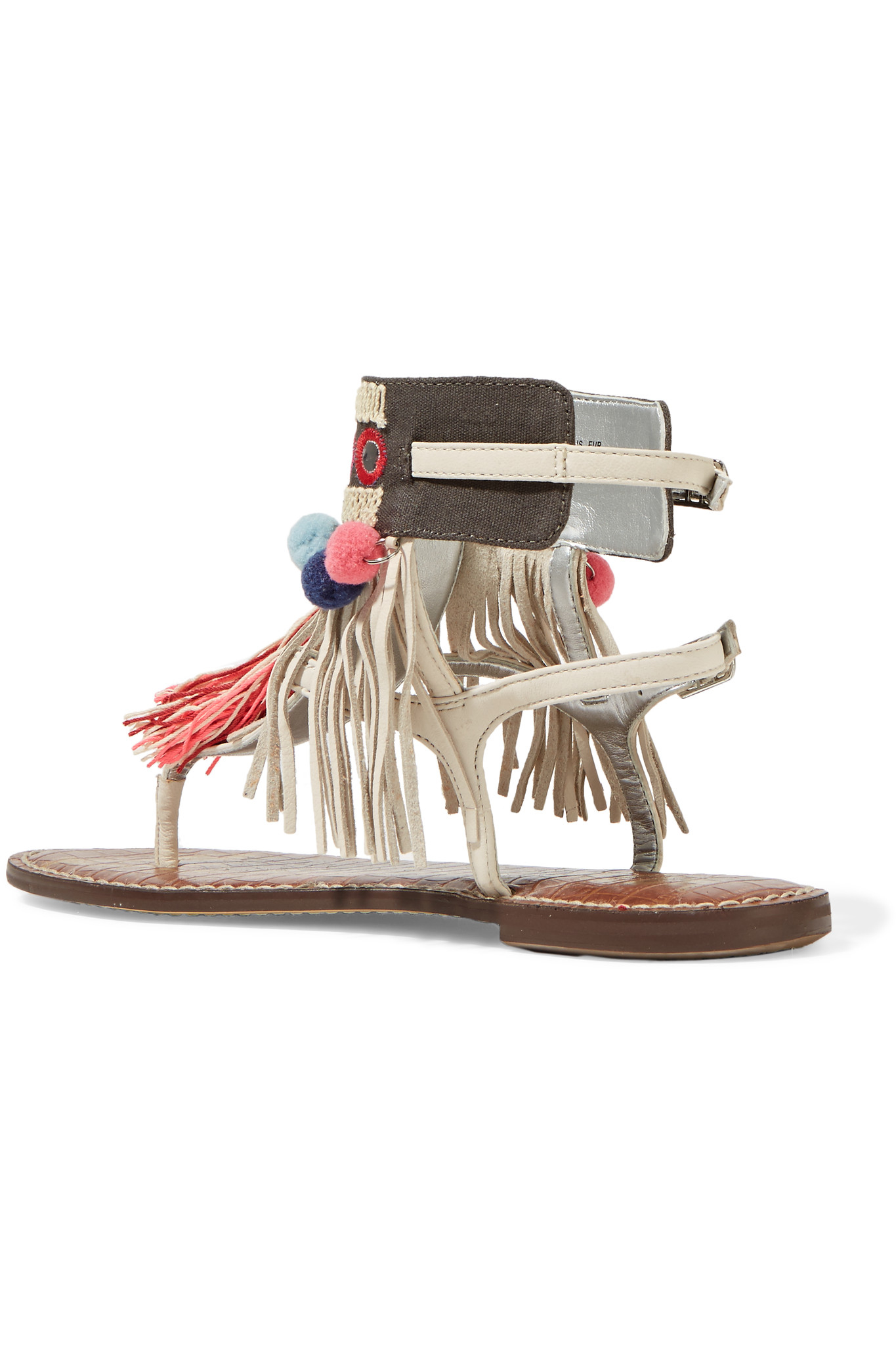 57e61b12f5c0 Lyst - Sam Edelman Gere Fringe-trimmed Leather Sandals in White